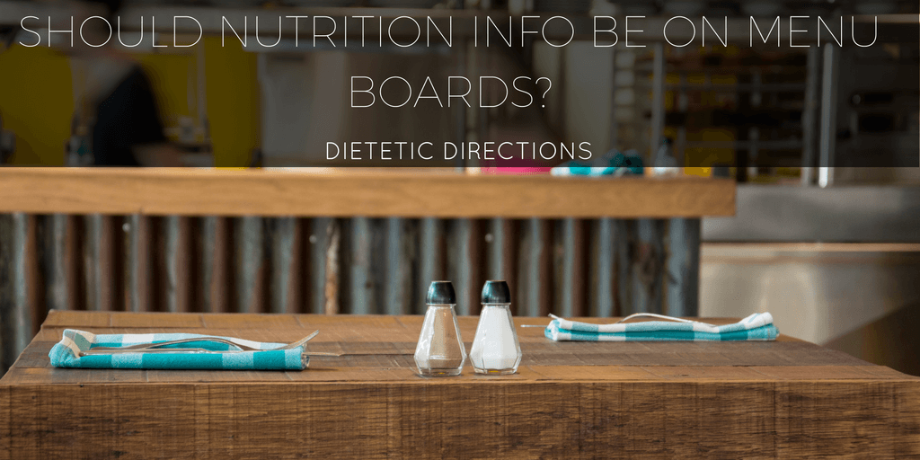 Nutrition Info menu board