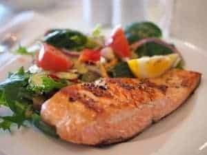 Salmon fillet dinner