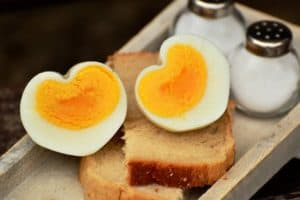 Eggs heart shape