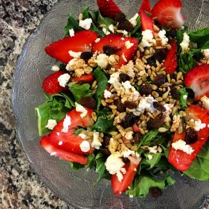 strawberry goat cheese kale salad
