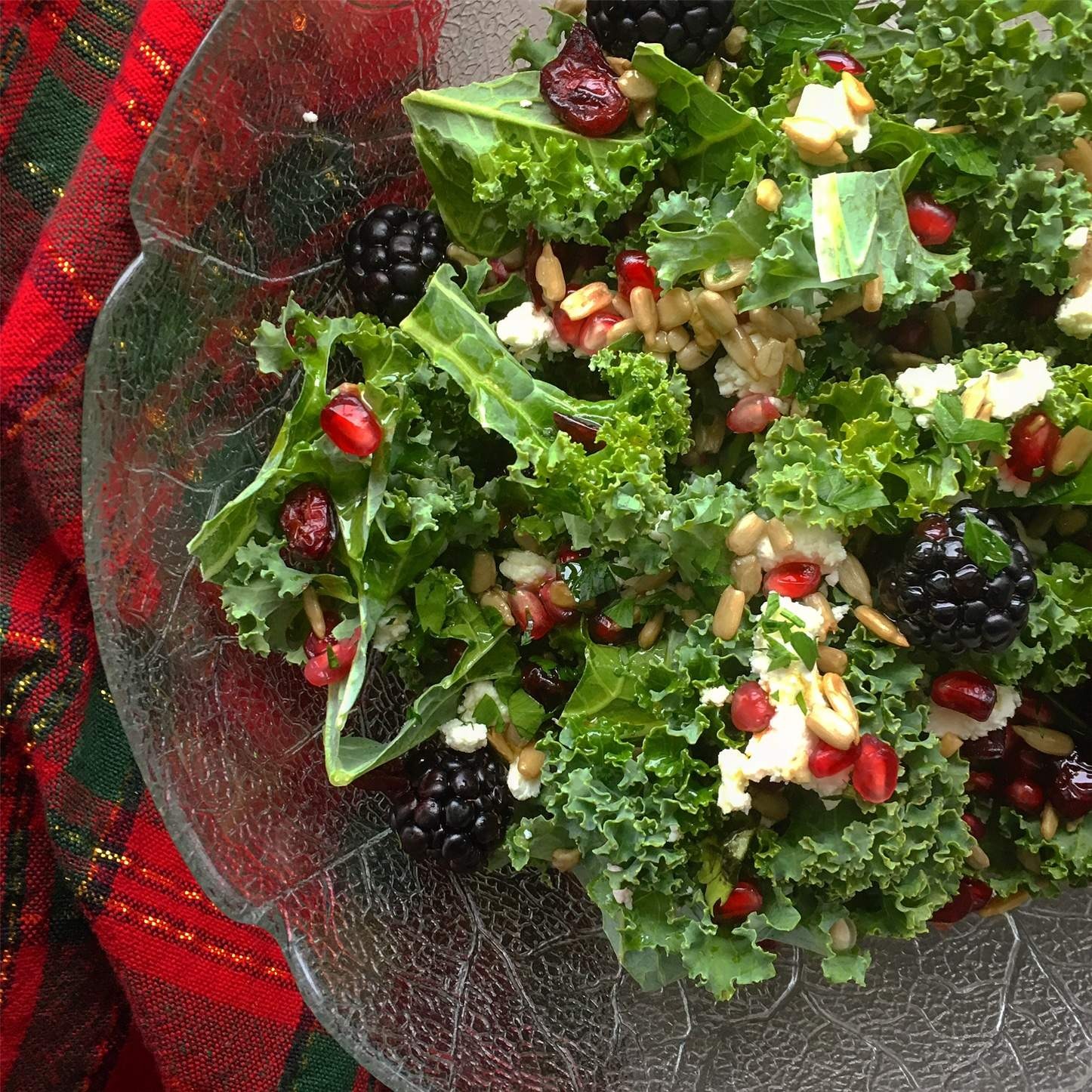 Pomegranate Goat Cheese Kale Salad
