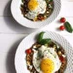 garlicy breakfast lentils