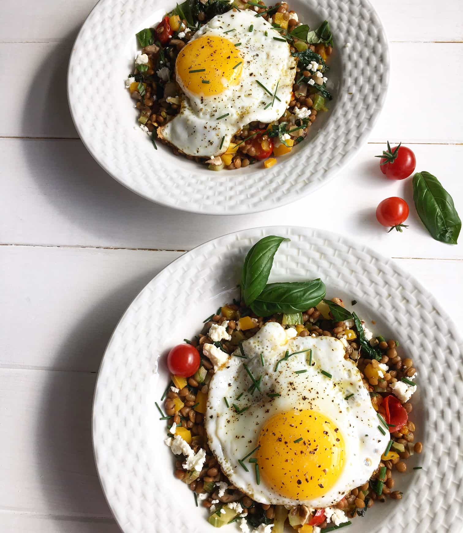 garlicy breakfast lentils