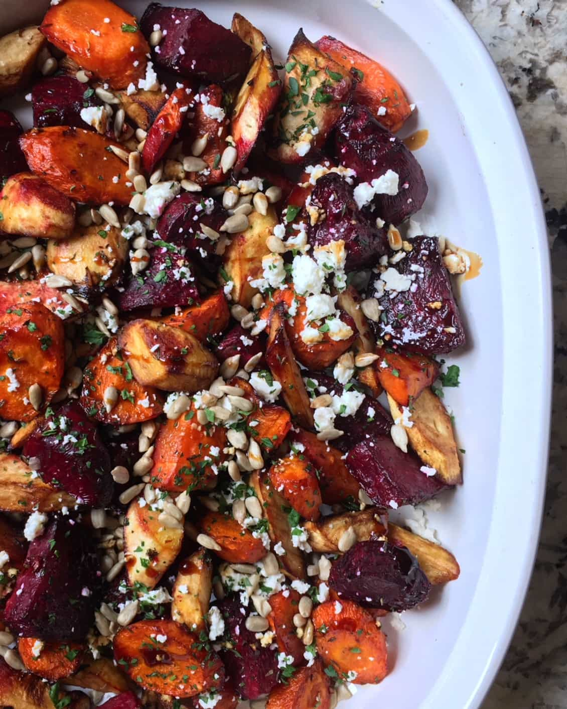 balsamic roasted veggies with feta