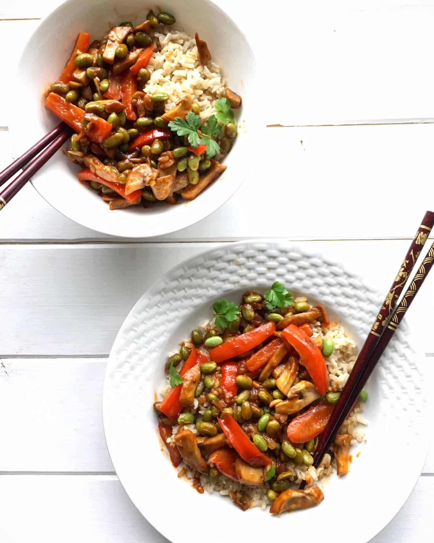 peanut & edamame vegan stir-fry