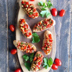 Garlic Lentil Bruschetta