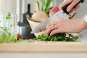 Healthy Entertaining Appetizers cutting green vegetables
