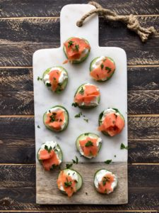 Cucumber salmon bites food Healthy Entertaining Appetizers