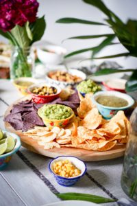 Black beans chips salsa meal food platter Healthy Entertaining Appetizers